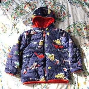 Boys Mini Boden reversible coat